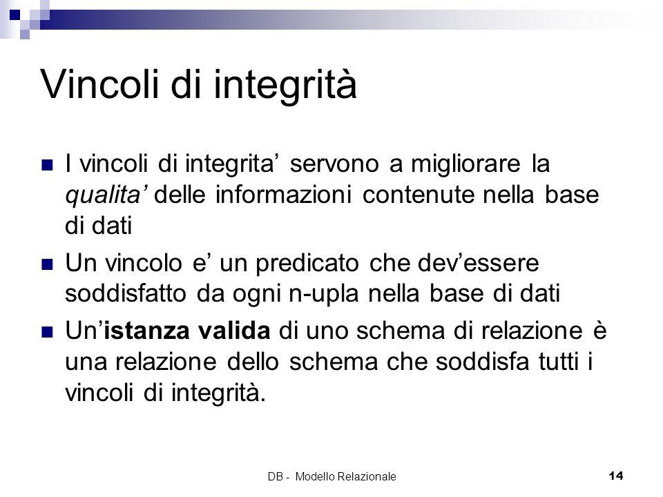 DB - Modello Relazionale14 Vincoli di integrità I vincoli di integrita servono a migliorare la qualita delle informazioni contenute nella base di dati