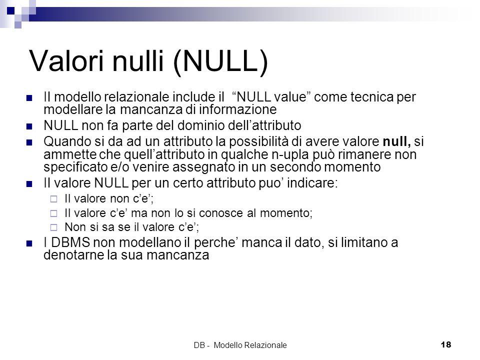 DB - Modello Relazionale18 Valori nulli (NULL) Il modello relazionale include il NULL value come tecnica per modellare la mancanza di informazione NUL