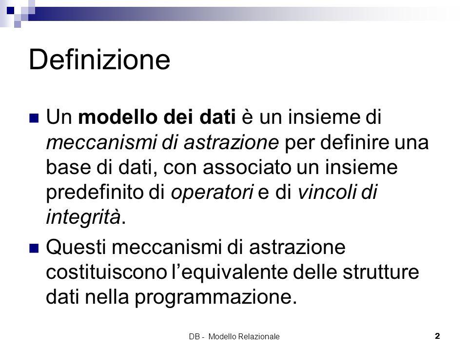 DB - Modello Relazionale2 Definizione Un modello dei dati è un insieme di meccanismi di astrazione per definire una base di dati, con associato un ins