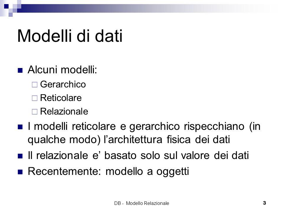 DB - Modello Relazionale3 Modelli di dati Alcuni modelli: Gerarchico Reticolare Relazionale I modelli reticolare e gerarchico rispecchiano (in qualche