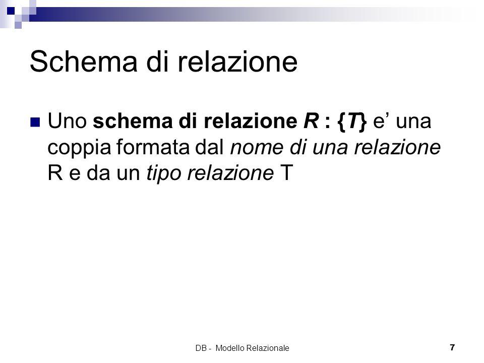 DB - Modello Relazionale7 Schema di relazione Uno schema di relazione R : {T} e una coppia formata dal nome di una relazione R e da un tipo relazione
