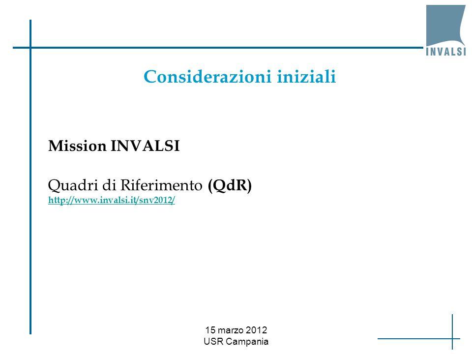 15 marzo 2012 USR Campania Mission INVALSI Considerazioni iniziali Quadri di Riferimento (QdR) http://www.invalsi.it/snv2012/