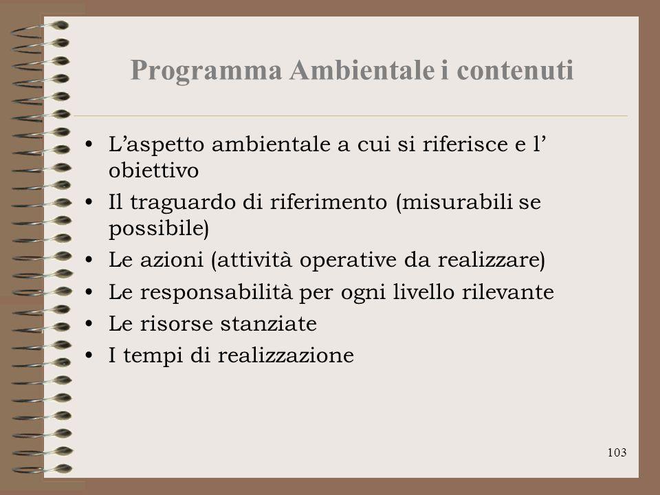 103 Programma Ambientale i contenuti Laspetto ambientale a cui si riferisce e l obiettivo Il traguardo di riferimento (misurabili se possibile) Le azi