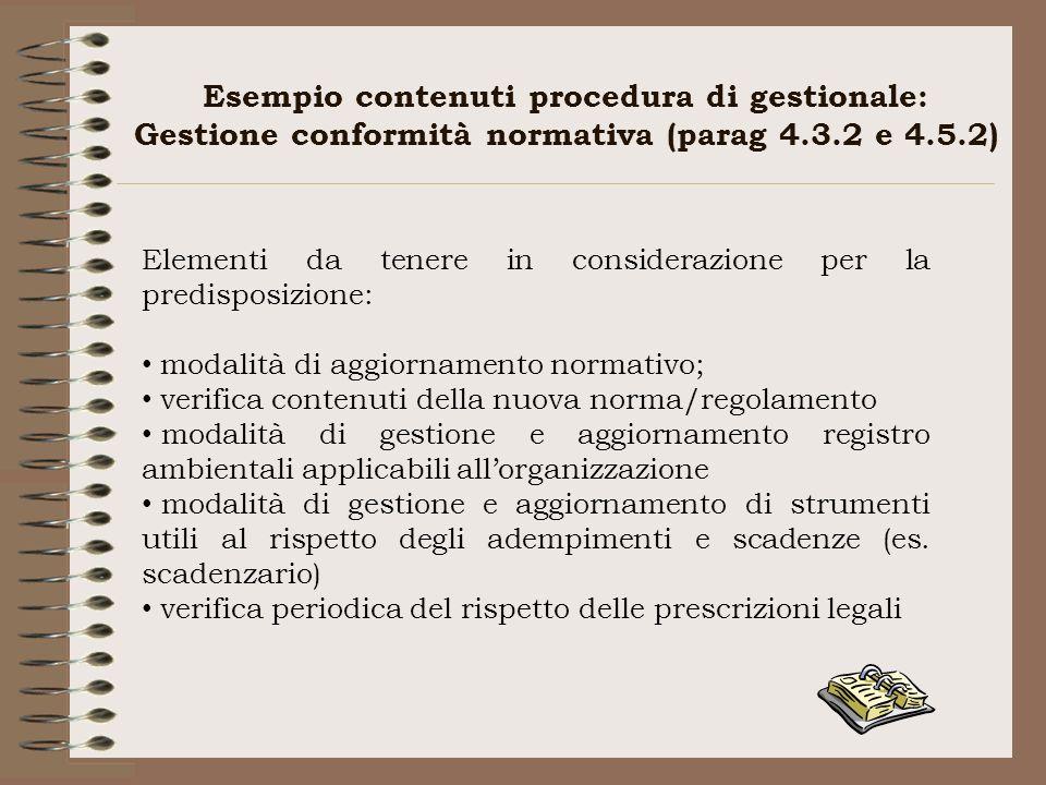 Esempio contenuti procedura di gestionale: Gestione conformità normativa (parag 4.3.2 e 4.5.2) Elementi da tenere in considerazione per la predisposiz