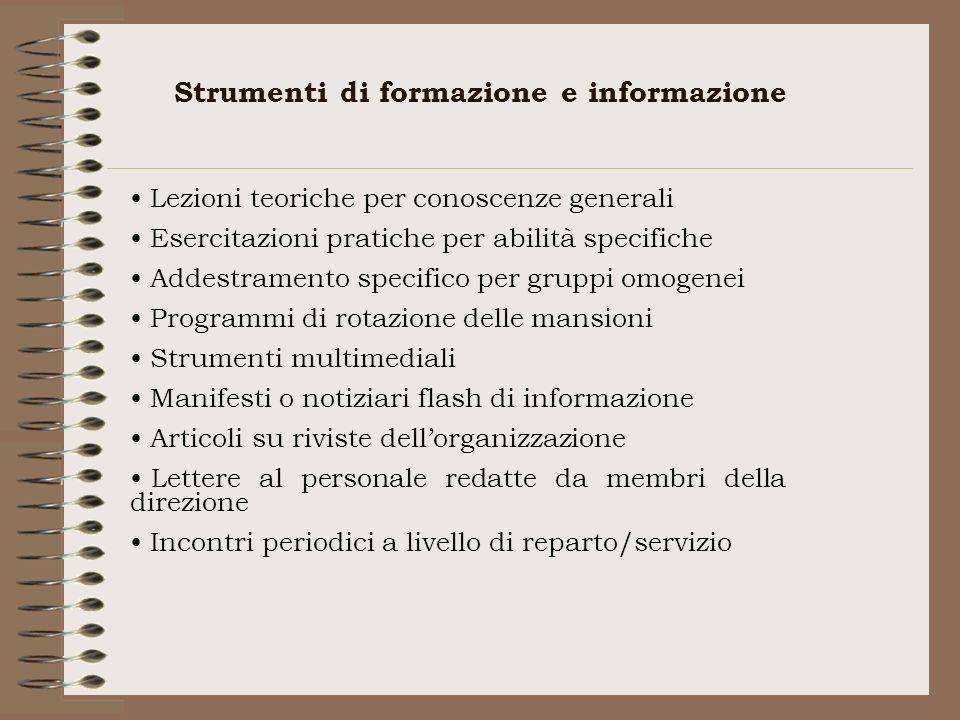 Strumenti di formazione e informazione Lezioni teoriche per conoscenze generali Esercitazioni pratiche per abilità specifiche Addestramento specifico