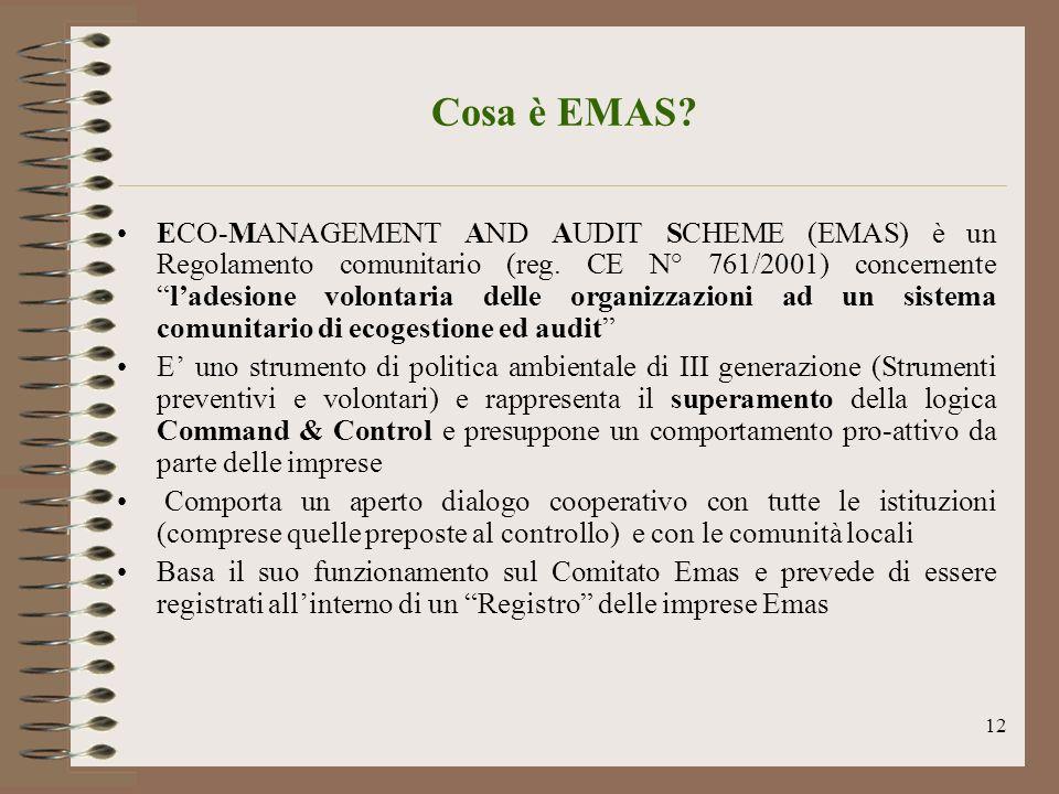 12 Cosa è EMAS? ECO-MANAGEMENT AND AUDIT SCHEME (EMAS) è un Regolamento comunitario (reg. CE N° 761/2001) concernenteladesione volontaria delle organi