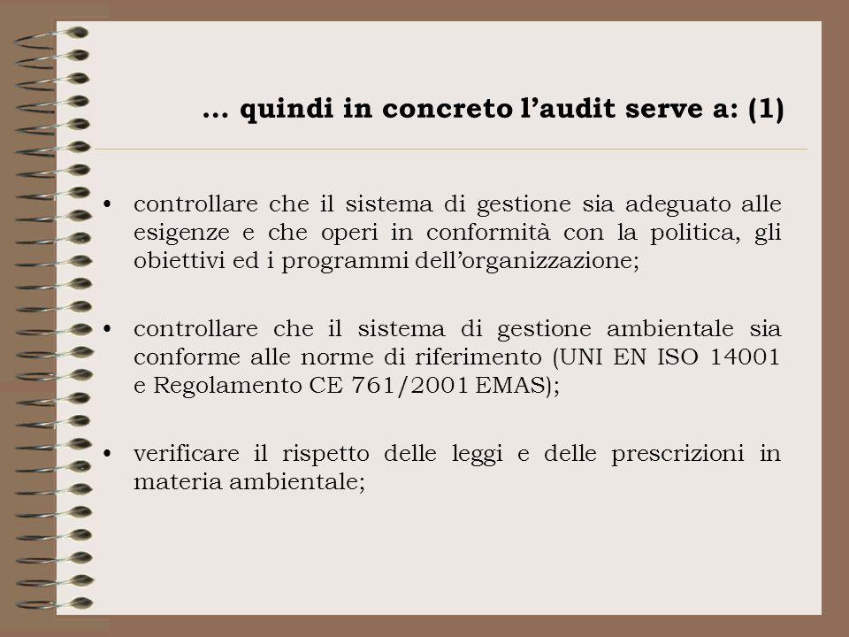 … quindi in concreto laudit serve a: (1) controllare che il sistema di gestione sia adeguato alle esigenze e che operi in conformità con la politica,