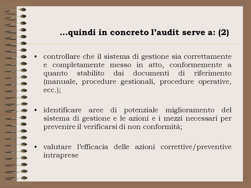 …quindi in concreto laudit serve a: (2) controllare che il sistema di gestione sia correttamente e completamente messo in atto, conformemente a quanto
