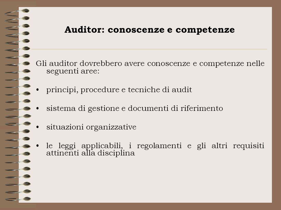 Auditor: conoscenze e competenze Gli auditor dovrebbero avere conoscenze e competenze nelle seguenti aree: principi, procedure e tecniche di audit sis