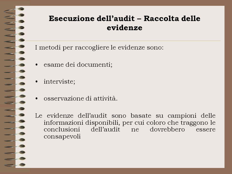 Esecuzione dellaudit – Raccolta delle evidenze I metodi per raccogliere le evidenze sono: esame dei documenti; interviste; osservazione di attività. L