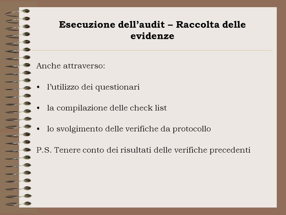Esecuzione dellaudit – Raccolta delle evidenze Anche attraverso: lutilizzo dei questionari la compilazione delle check list lo svolgimento delle verif
