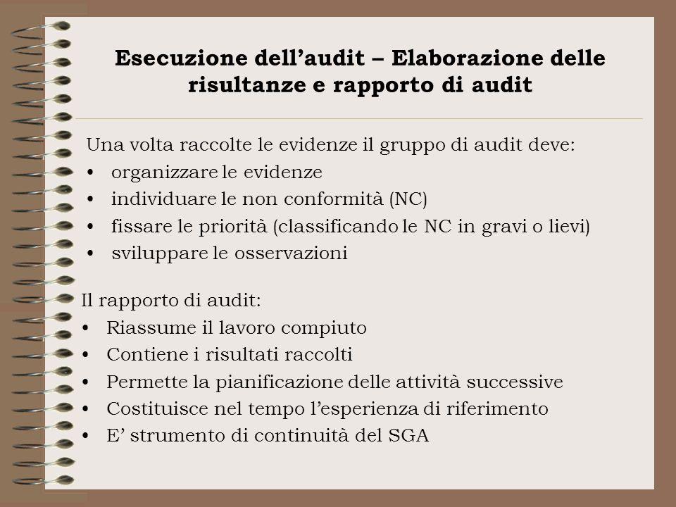 Esecuzione dellaudit – Elaborazione delle risultanze e rapporto di audit Una volta raccolte le evidenze il gruppo di audit deve: organizzare le eviden
