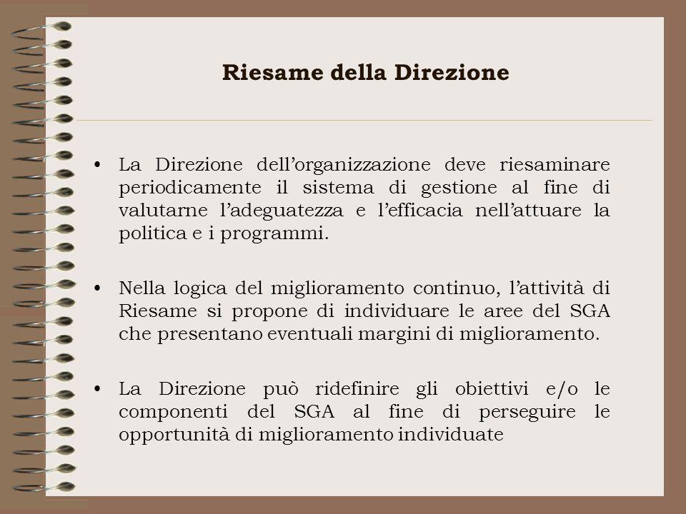 Riesame della Direzione La Direzione dellorganizzazione deve riesaminare periodicamente il sistema di gestione al fine di valutarne ladeguatezza e lef