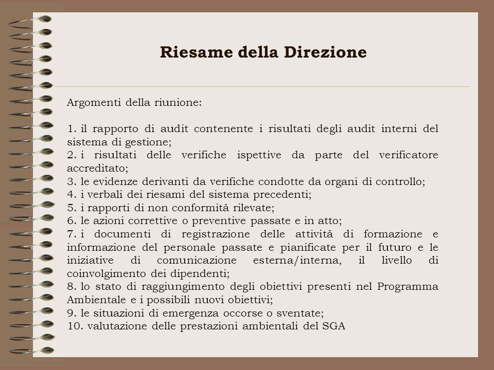 Riesame della Direzione Argomenti della riunione: 1. il rapporto di audit contenente i risultati degli audit interni del sistema di gestione; 2. i ris