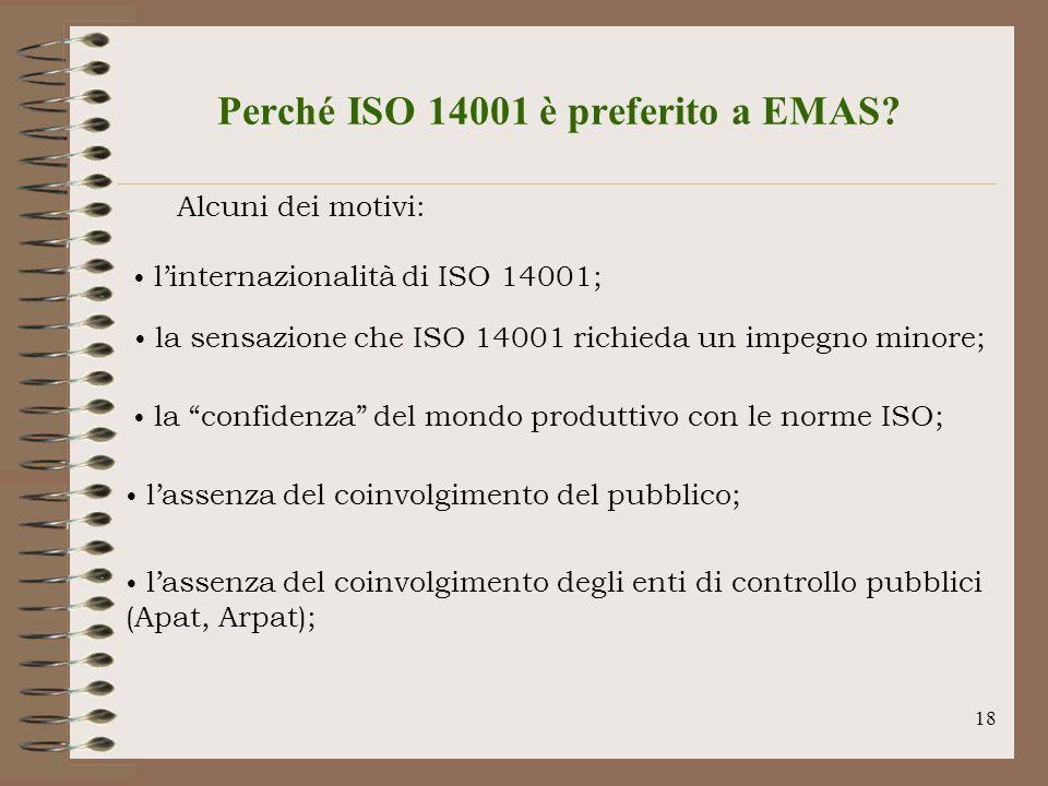 18 Perché ISO 14001 è preferito a EMAS? Alcuni dei motivi: linternazionalità di ISO 14001; la sensazione che ISO 14001 richieda un impegno minore; la
