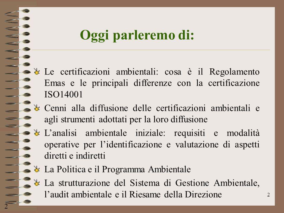 2 2 Oggi parleremo di: Le certificazioni ambientali: cosa è il Regolamento Emas e le principali differenze con la certificazione ISO14001 Cenni alla d