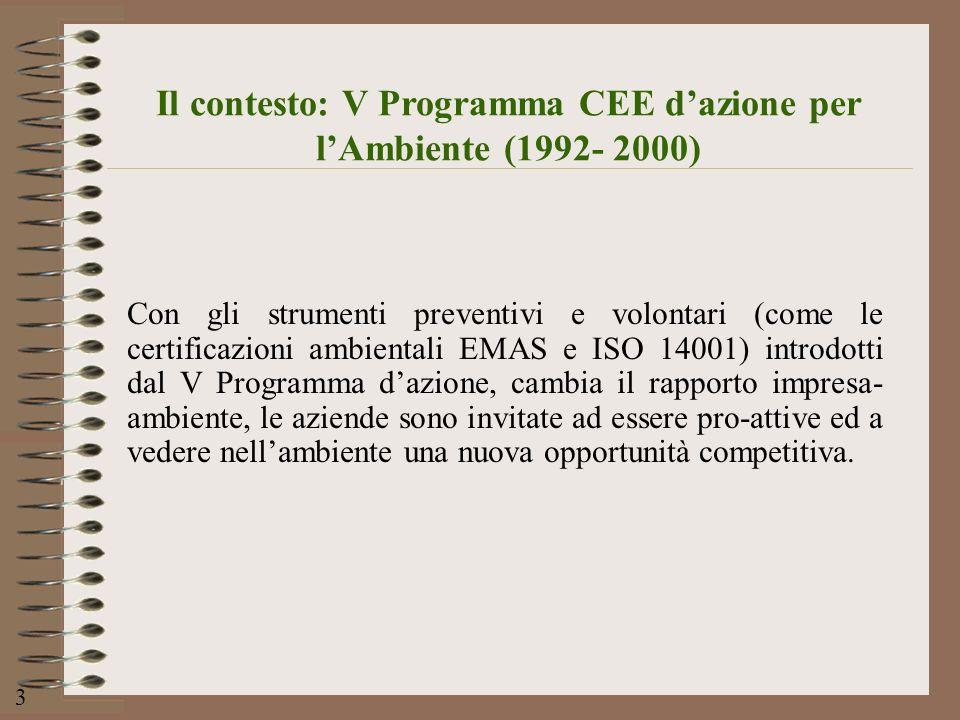 Il contesto: V Programma CEE dazione per lAmbiente (1992- 2000) Con gli strumenti preventivi e volontari (come le certificazioni ambientali EMAS e ISO