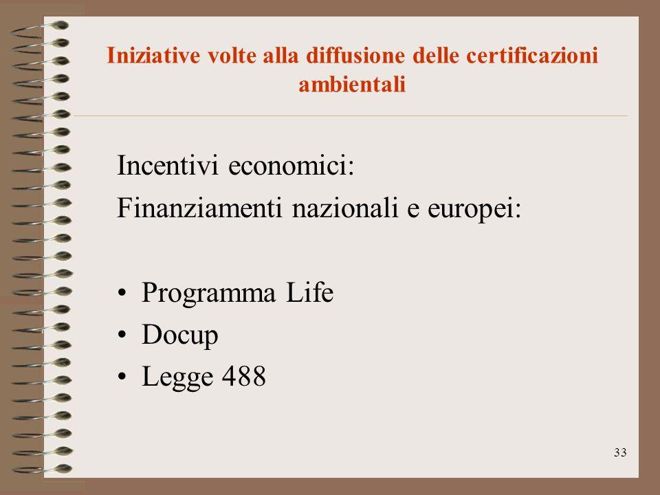 33 Iniziative volte alla diffusione delle certificazioni ambientali Incentivi economici: Finanziamenti nazionali e europei: Programma Life Docup Legge