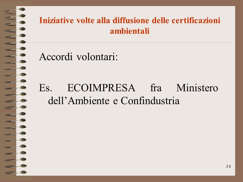 34 Iniziative volte alla diffusione delle certificazioni ambientali Accordi volontari: Es. ECOIMPRESA fra Ministero dellAmbiente e Confindustria