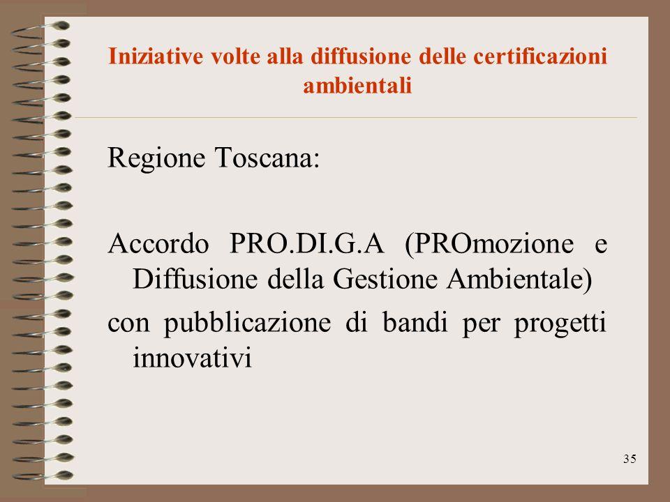 35 Iniziative volte alla diffusione delle certificazioni ambientali Regione Toscana: Accordo PRO.DI.G.A (PROmozione e Diffusione della Gestione Ambien