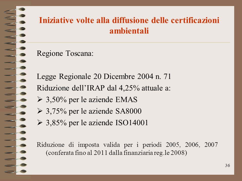 36 Iniziative volte alla diffusione delle certificazioni ambientali Regione Toscana: Legge Regionale 20 Dicembre 2004 n. 71 Riduzione dellIRAP dal 4,2
