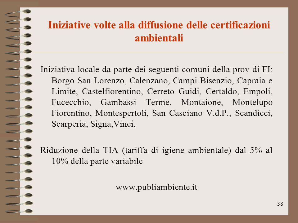 38 Iniziative volte alla diffusione delle certificazioni ambientali Iniziativa locale da parte dei seguenti comuni della prov di FI: Borgo San Lorenzo