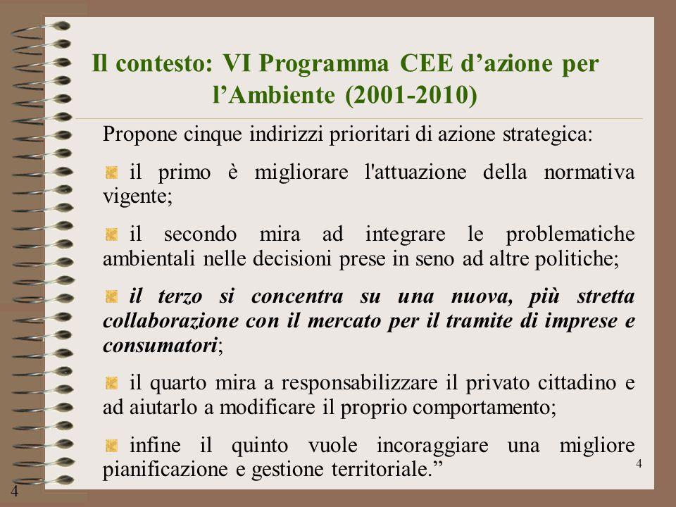 4 Il contesto: VI Programma CEE dazione per lAmbiente (2001-2010) Propone cinque indirizzi prioritari di azione strategica: il primo è migliorare l'at