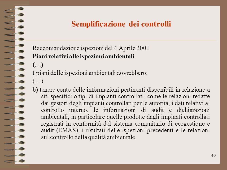40 Semplificazione dei controlli Raccomandazione ispezioni del 4 Aprile 2001 Piani relativi alle ispezioni ambientali (…) I piani delle ispezioni ambi