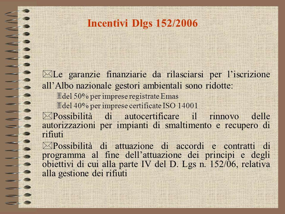 Incentivi Dlgs 152/2006 *Le garanzie finanziarie da rilasciarsi per liscrizione allAlbo nazionale gestori ambientali sono ridotte: 3del 50% per impres
