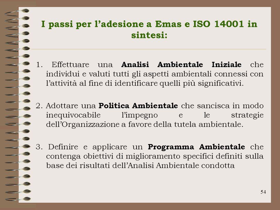 54 I passi per ladesione a Emas e ISO 14001 in sintesi: 1. Effettuare una Analisi Ambientale Iniziale che individui e valuti tutti gli aspetti ambient