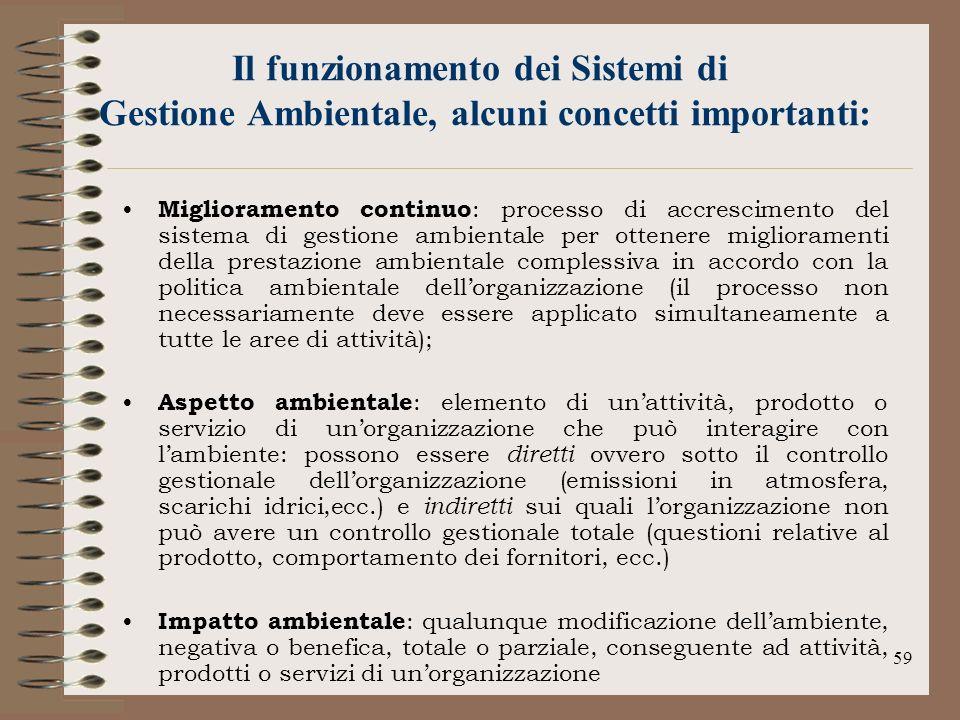 59 Il funzionamento dei Sistemi di Gestione Ambientale, alcuni concetti importanti: Miglioramento continuo : processo di accrescimento del sistema di
