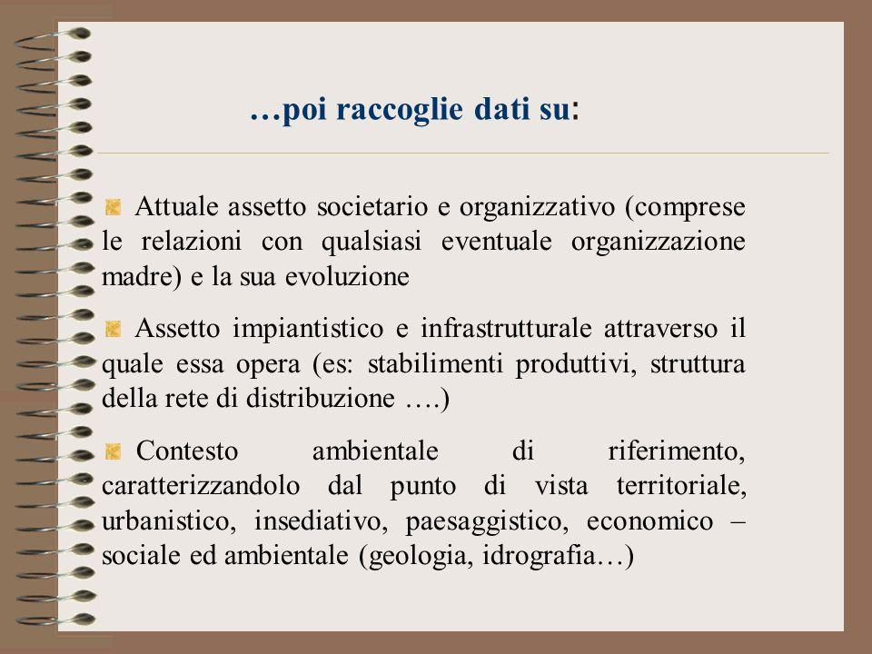 …poi raccoglie dati su : Attuale assetto societario e organizzativo (comprese le relazioni con qualsiasi eventuale organizzazione madre) e la sua evol
