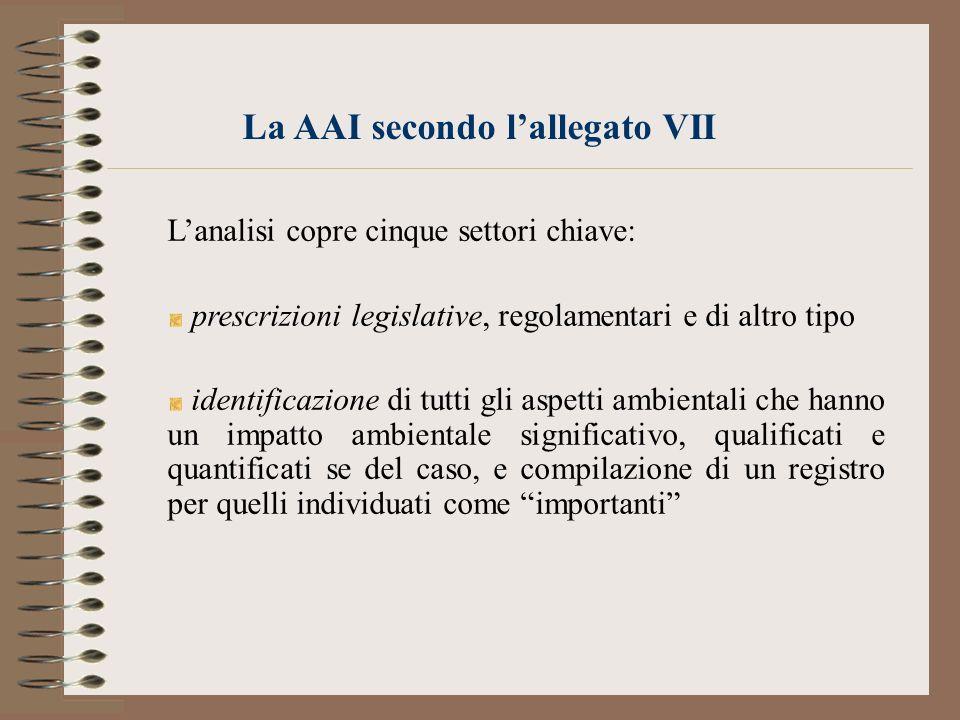 La AAI secondo lallegato VII Lanalisi copre cinque settori chiave: prescrizioni legislative, regolamentari e di altro tipo identificazione di tutti gl