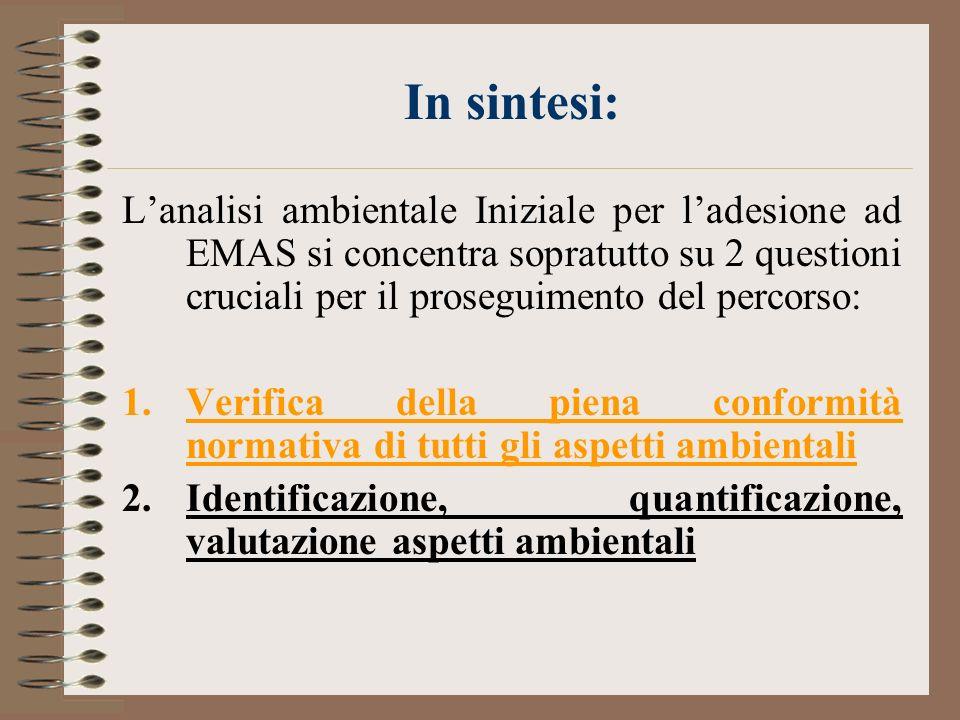 In sintesi: Lanalisi ambientale Iniziale per ladesione ad EMAS si concentra sopratutto su 2 questioni cruciali per il proseguimento del percorso: 1.Ve