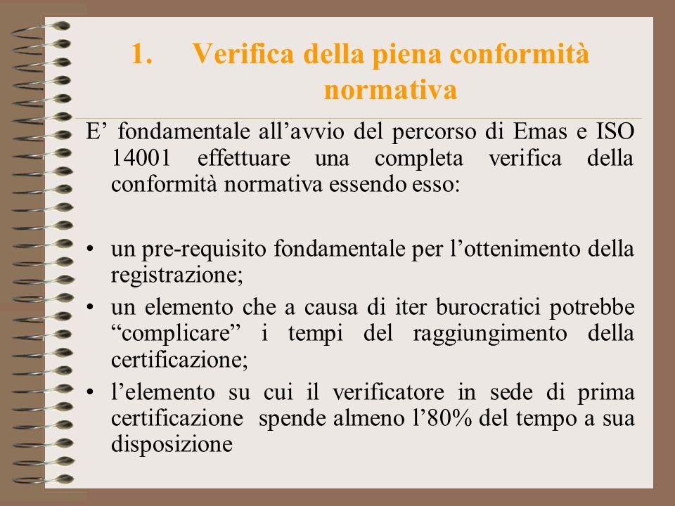 1.Verifica della piena conformità normativa E fondamentale allavvio del percorso di Emas e ISO 14001 effettuare una completa verifica della conformità