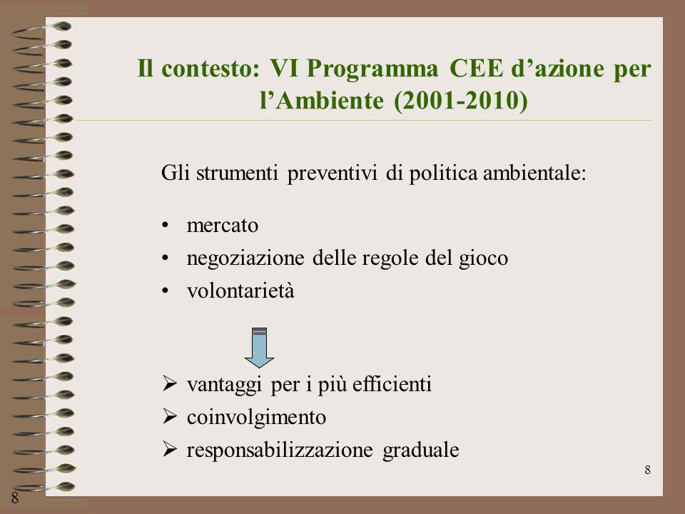 8 Il contesto: VI Programma CEE dazione per lAmbiente (2001-2010) Gli strumenti preventivi di politica ambientale: mercato negoziazione delle regole d