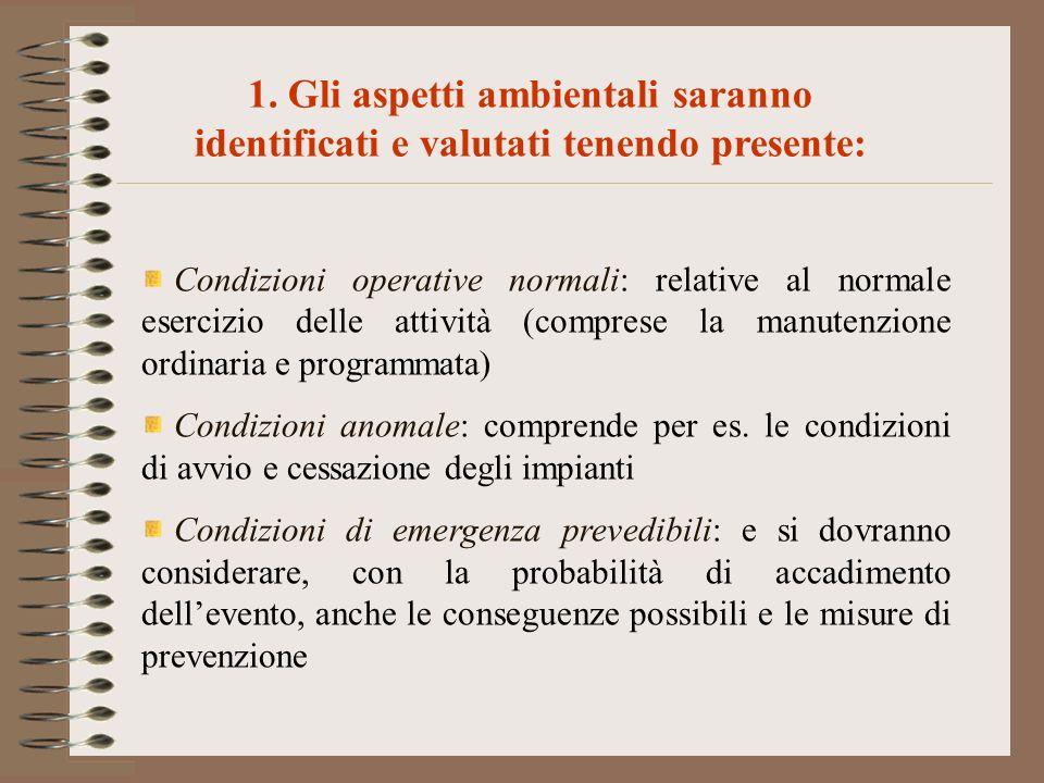 Condizioni operative normali: relative al normale esercizio delle attività (comprese la manutenzione ordinaria e programmata) Condizioni anomale: comp