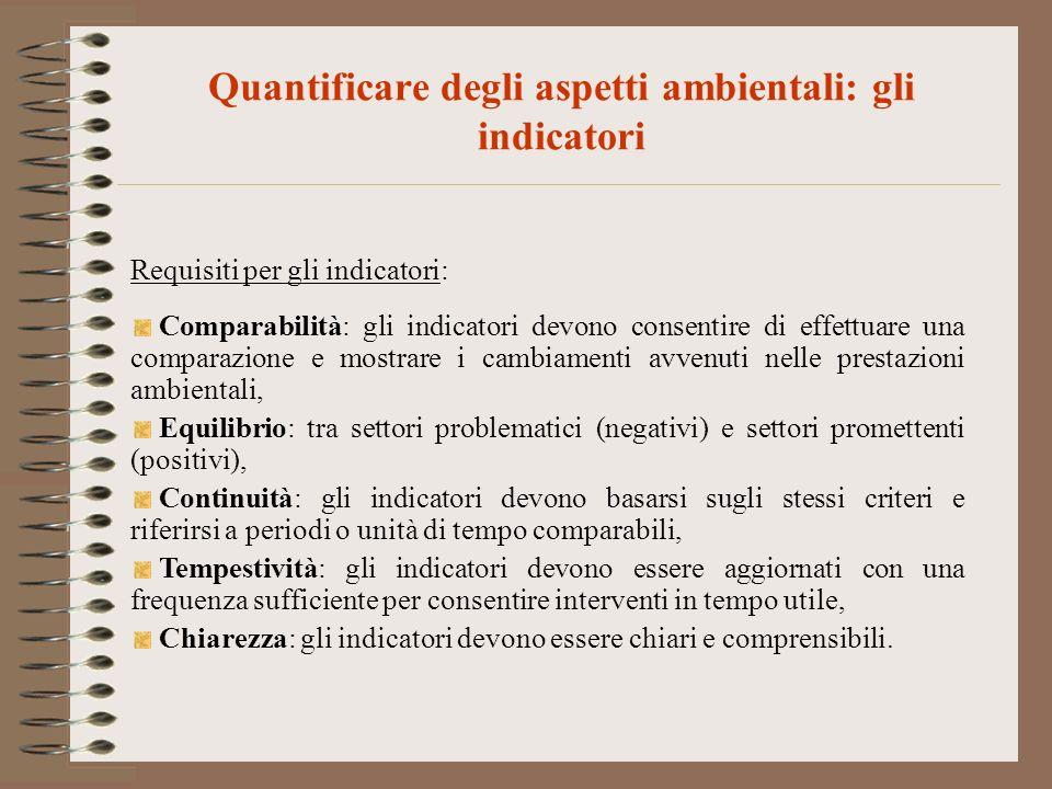 Quantificare degli aspetti ambientali: gli indicatori Requisiti per gli indicatori: Comparabilità: gli indicatori devono consentire di effettuare una