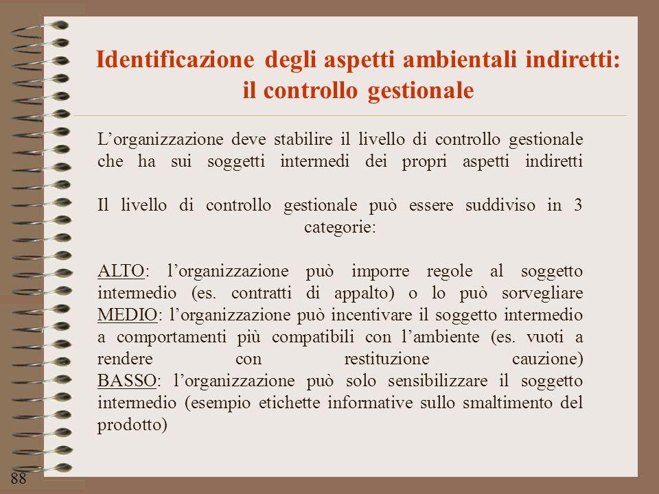 88 Identificazione degli aspetti ambientali indiretti: il controllo gestionale Lorganizzazione deve stabilire il livello di controllo gestionale che h