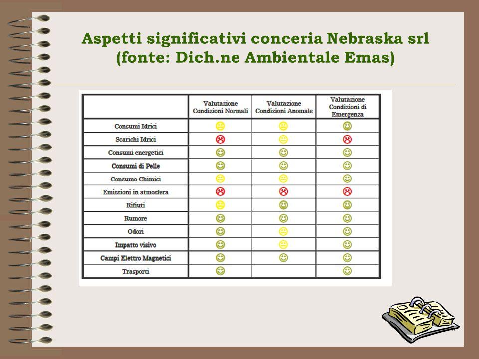 Aspetti significativi conceria Nebraska srl (fonte: Dich.ne Ambientale Emas) 96