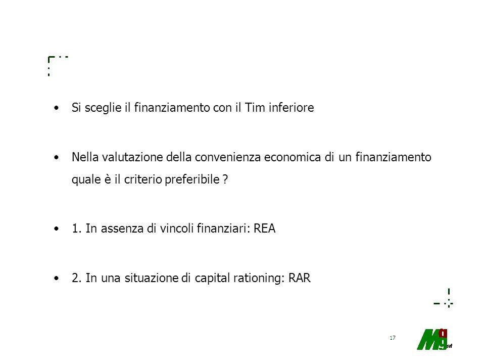 17 Si sceglie il finanziamento con il Tim inferiore Nella valutazione della convenienza economica di un finanziamento quale è il criterio preferibile