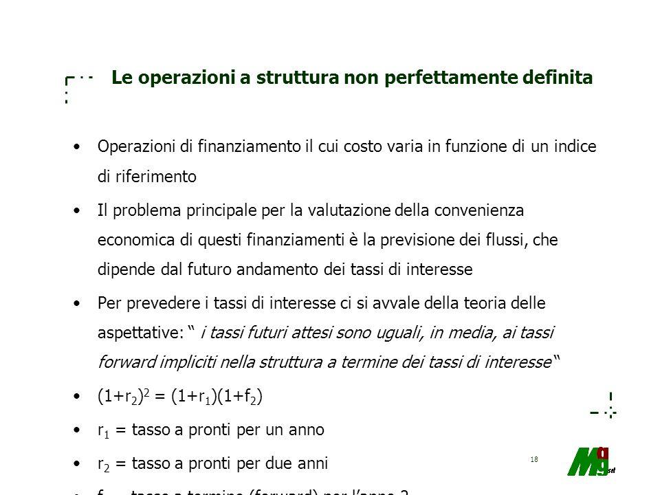 18 Le operazioni a struttura non perfettamente definita Operazioni di finanziamento il cui costo varia in funzione di un indice di riferimento Il prob