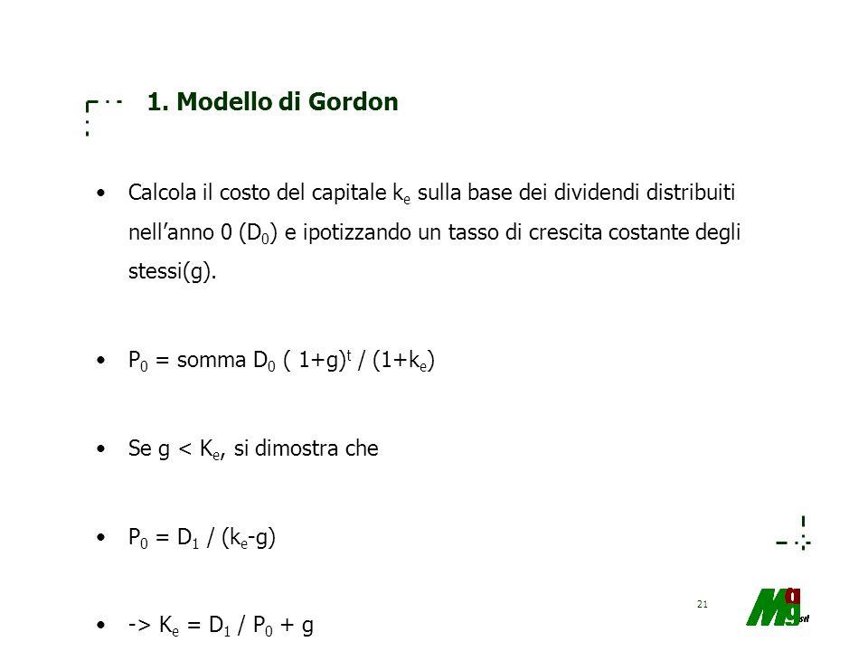 21 1. Modello di Gordon Calcola il costo del capitale k e sulla base dei dividendi distribuiti nellanno 0 (D 0 ) e ipotizzando un tasso di crescita co