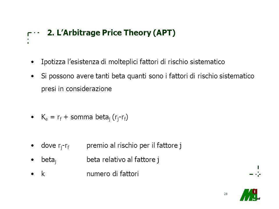 28 2. LArbitrage Price Theory (APT) Ipotizza lesistenza di molteplici fattori di rischio sistematico Si possono avere tanti beta quanti sono i fattori