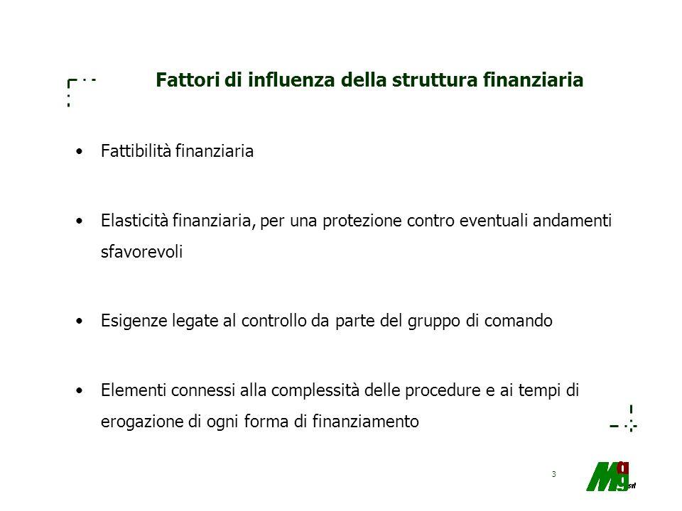 3 Fattori di influenza della struttura finanziaria Fattibilità finanziaria Elasticità finanziaria, per una protezione contro eventuali andamenti sfavo