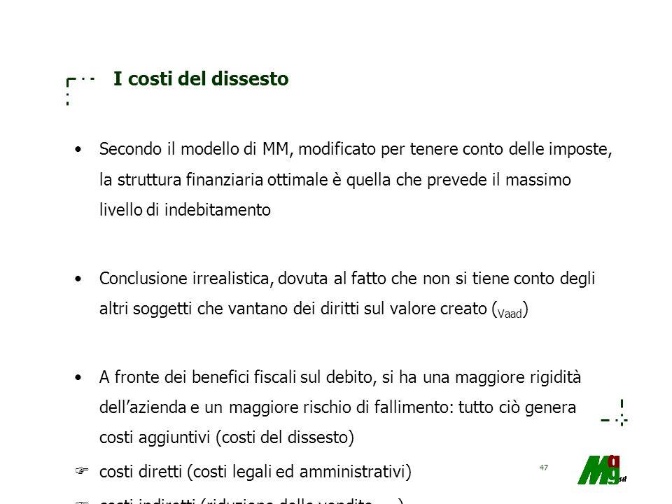 47 I costi del dissesto Secondo il modello di MM, modificato per tenere conto delle imposte, la struttura finanziaria ottimale è quella che prevede il