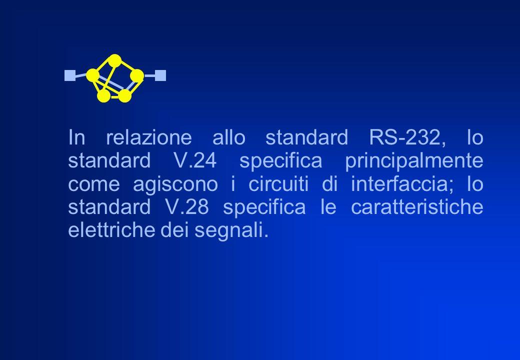 In relazione allo standard RS-232, lo standard V.24 specifica principalmente come agiscono i circuiti di interfaccia; lo standard V.28 specifica le ca