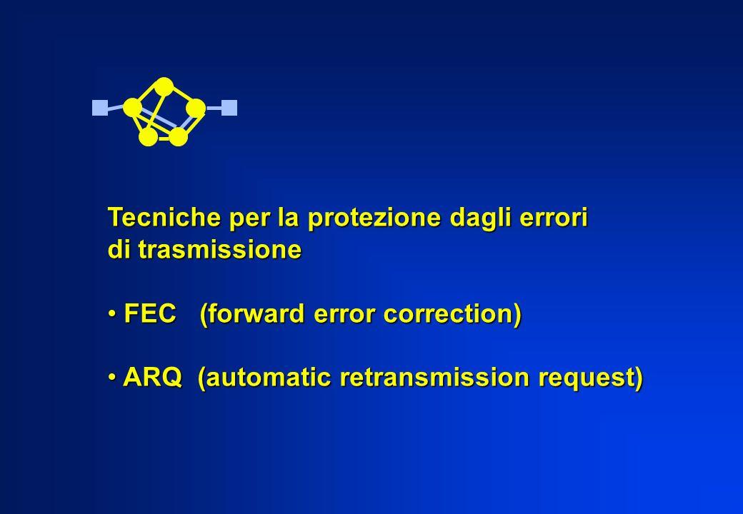 Tecniche per la protezione dagli errori di trasmissione FEC (forward error correction) FEC (forward error correction) ARQ (automatic retransmission re