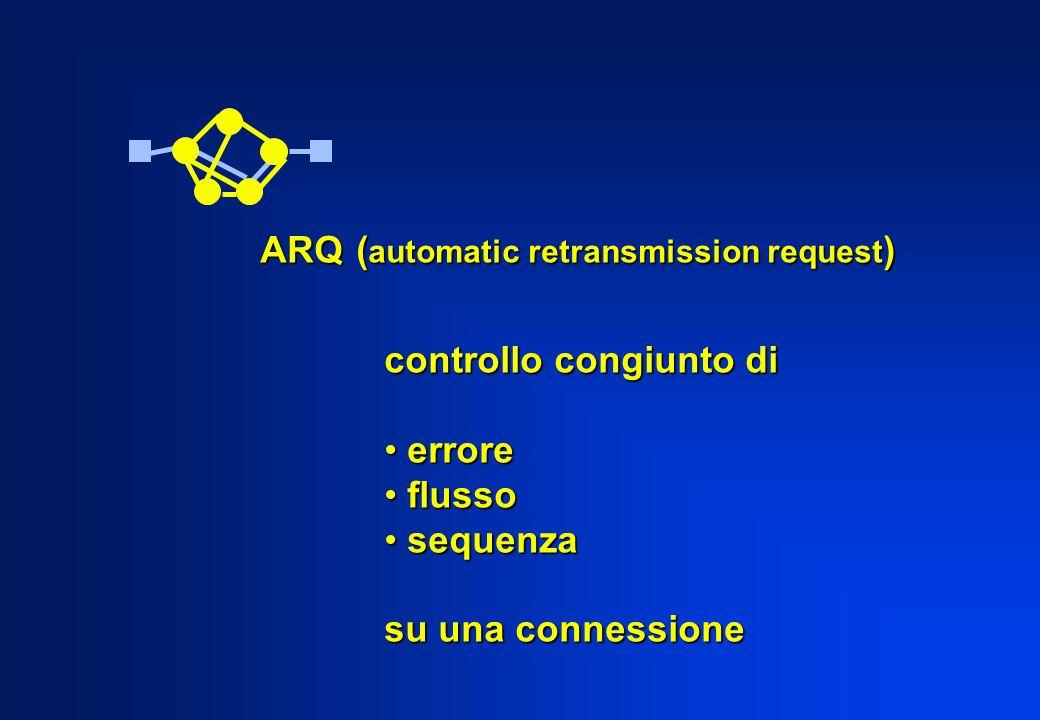 ARQ( automatic retransmission request ) controllo congiunto di errore errore flusso flusso sequenza sequenza su una connessione