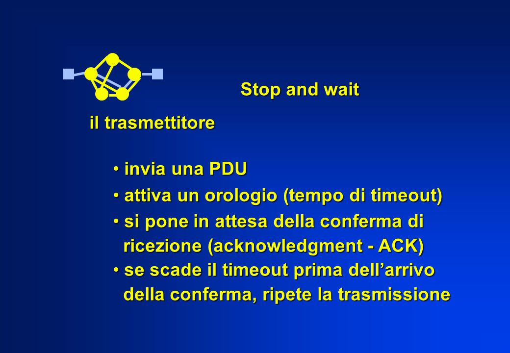 Stop and wait il trasmettitore invia una PDU invia una PDU attiva un orologio (tempo di timeout) attiva un orologio (tempo di timeout) si pone in atte